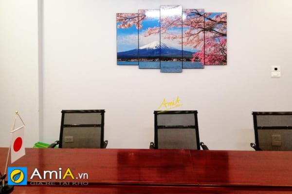 Hình ảnh Tranh phong cảnh núi phú sĩ hoa anh đào treo phòng họp đẹp AmiA 1429