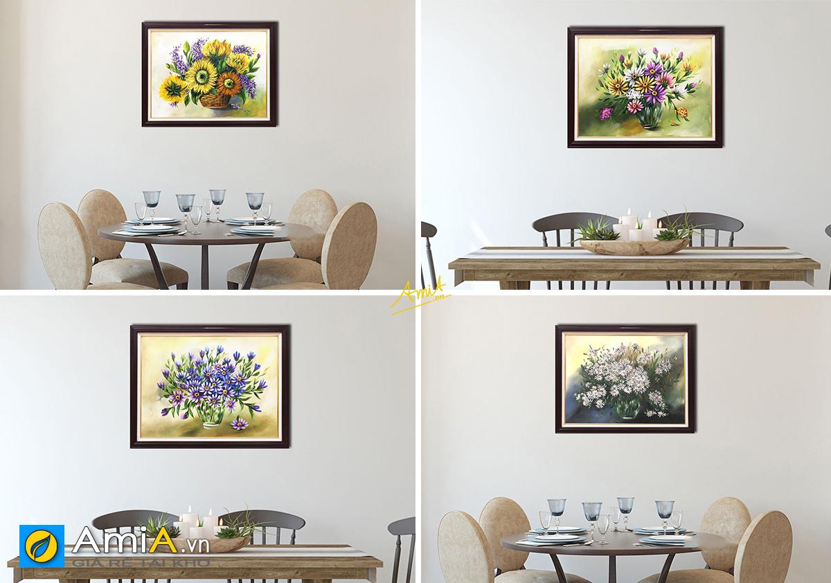 Hình ảnh Tranh sơn dầu 1 tấm khổ nhỏ treo phòng ăn bàn ăn giá dưới 2 triệu