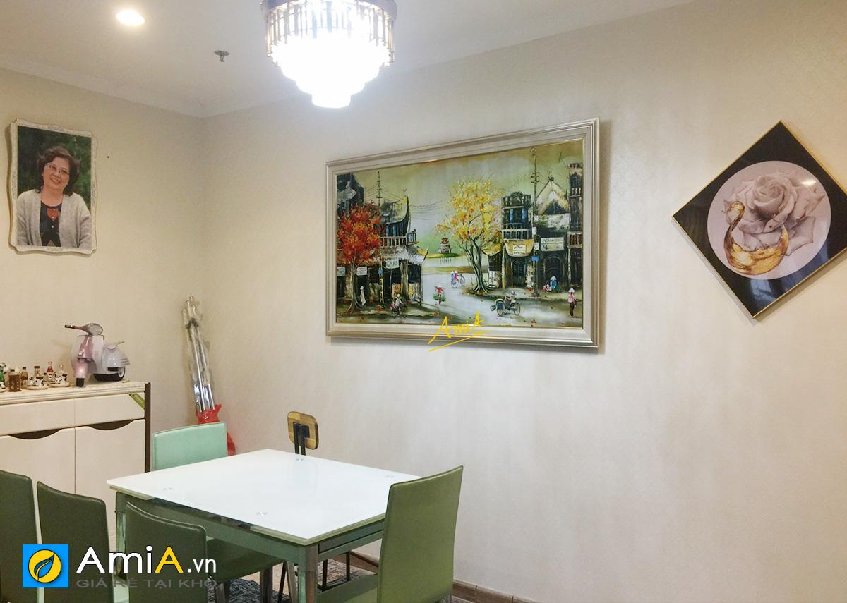 Hình ảnh Tranh sơn dầu phố cổ Hà Nội trang trí bàn ăn phòng ăn đẹp mã tsd 373