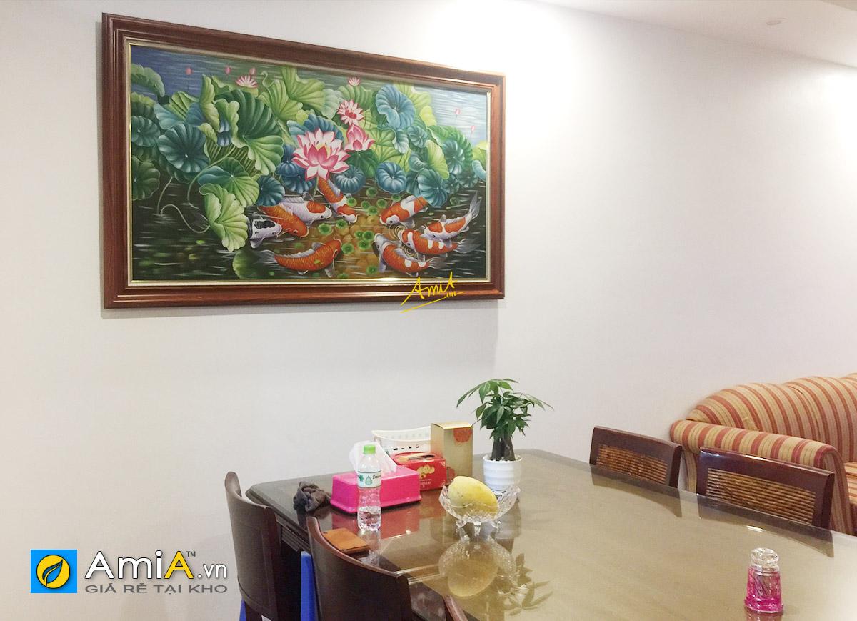 Hình ảnh Tranh sơn dầu treo phòng ăn bàn ăn chủ đề cá chép hoa sen đẹp ý nghĩa mã tsd 216