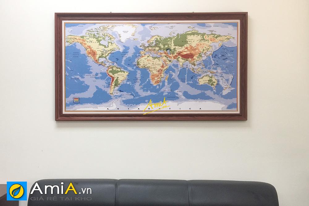 Hình ảnh Tranh treo phòng giám đốc hình ảnh bản đồ thế giới làm theo yêu cầu