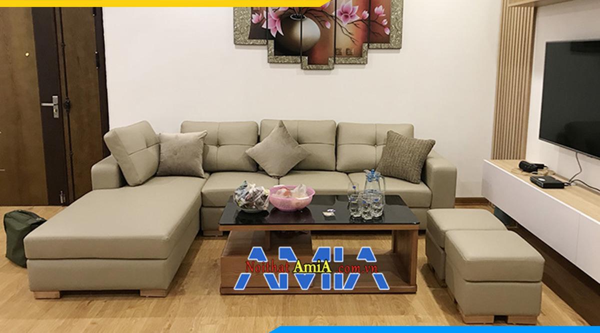 Sofa da phòng khách hình chữ L đẹp bài trí sát tường