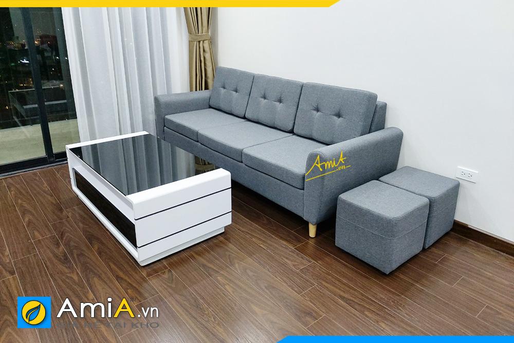 hình ảnh ghế sofa văng nỉ màu xám cho phòng khách chung cư