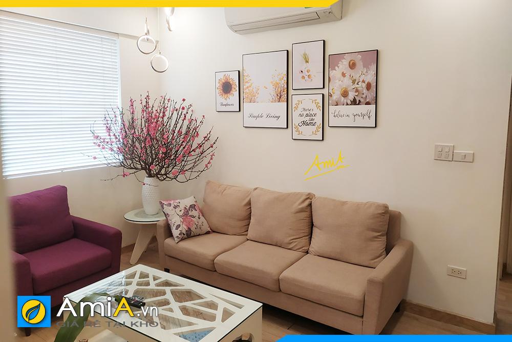 Hình ảnh bộ ghế sofa văng nỉ chung cư đẹp