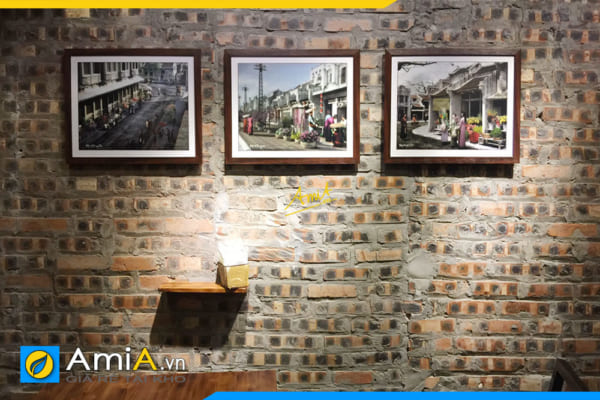 Hình ảnh Bộ tranh đen trắng ghép 3 bức treo tường quán cafe