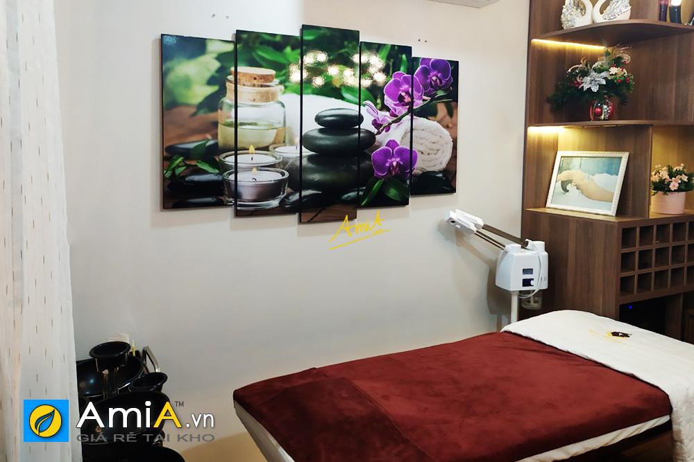 Hình ảnh Bộ tranh hoa lan tím nến đá đẹp trang trí spa, thẩm mỹ viện
