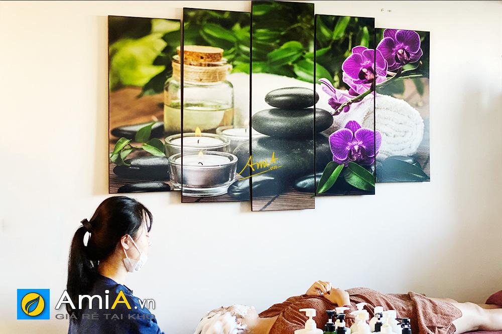 Hình ảnh Bộ tranh spa hoa lá trang trí khu vực chăm sóc khách hàng của spa
