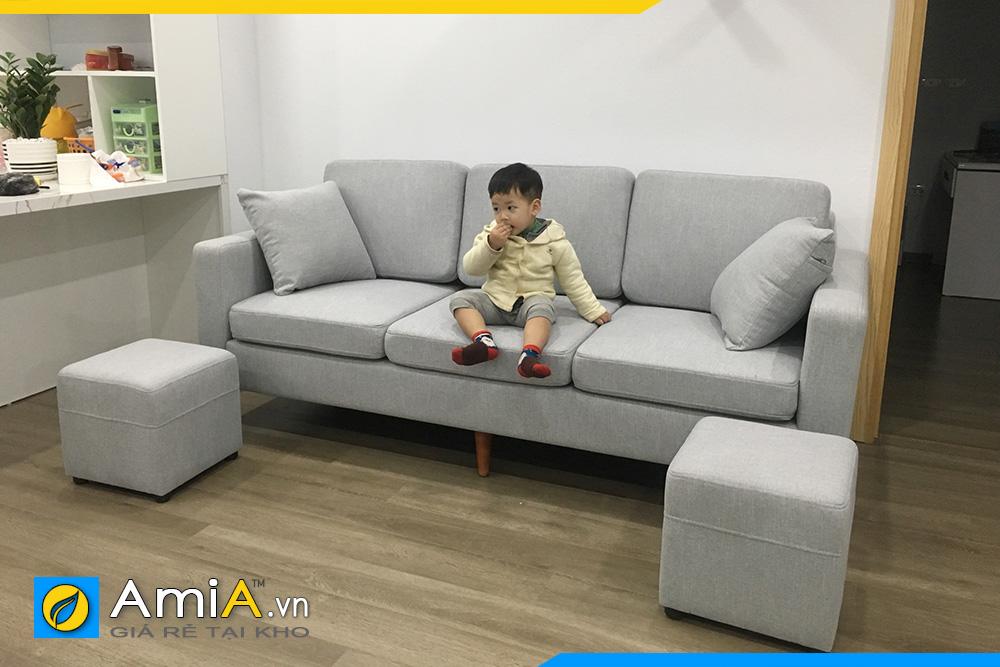 hình ảnh sofa văng nỉ chung cư màu ghi xám