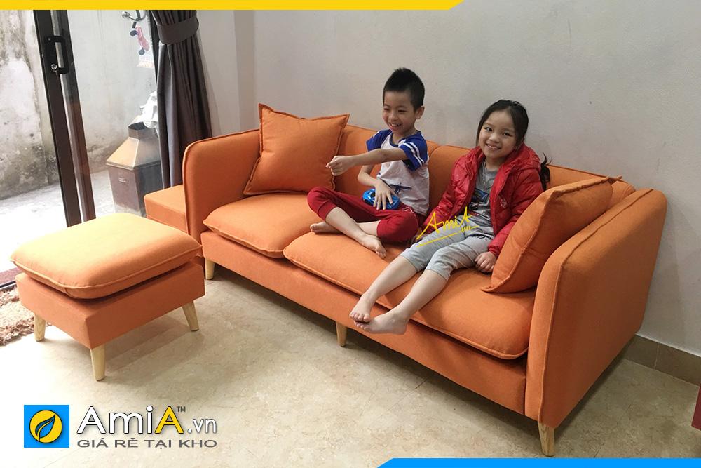 hình ảnh sofa văng nỉ màu cam đẹp cho chung cư hiện đại