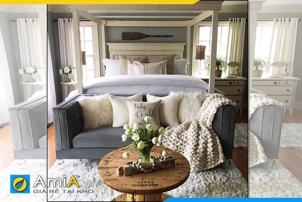 hình ảnh sofa văng nỉ nhỏ gọn kê phòng ngủ rất hợp
