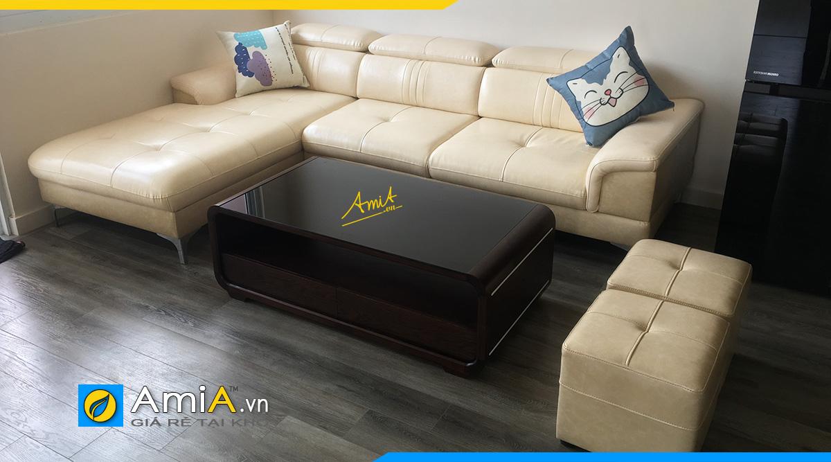 Mẫu ghế sofa góc chữ L hiện đại kê phòng khách chung cư