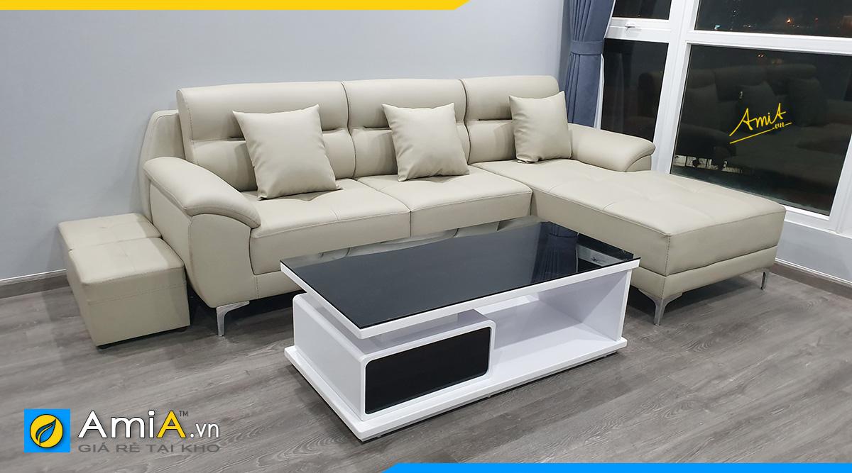 Hình ảnh thực tế bộ ghế sofa góc bọc da màu kem sang trọng kê phòng khách rộng