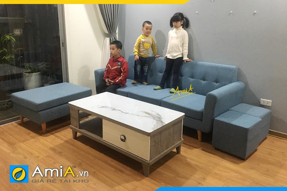 hình ảnh sofa văng nỉ kê phòng khách chung cư đẹp