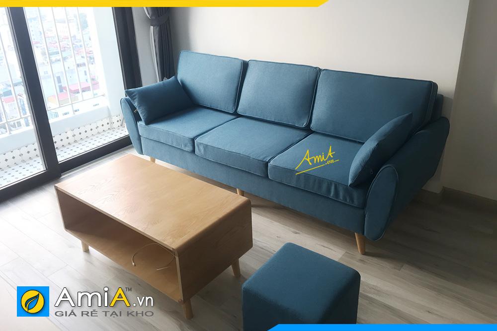 hình ảnh sofa văng nỉ màu xanh 3 chỗ ngồi