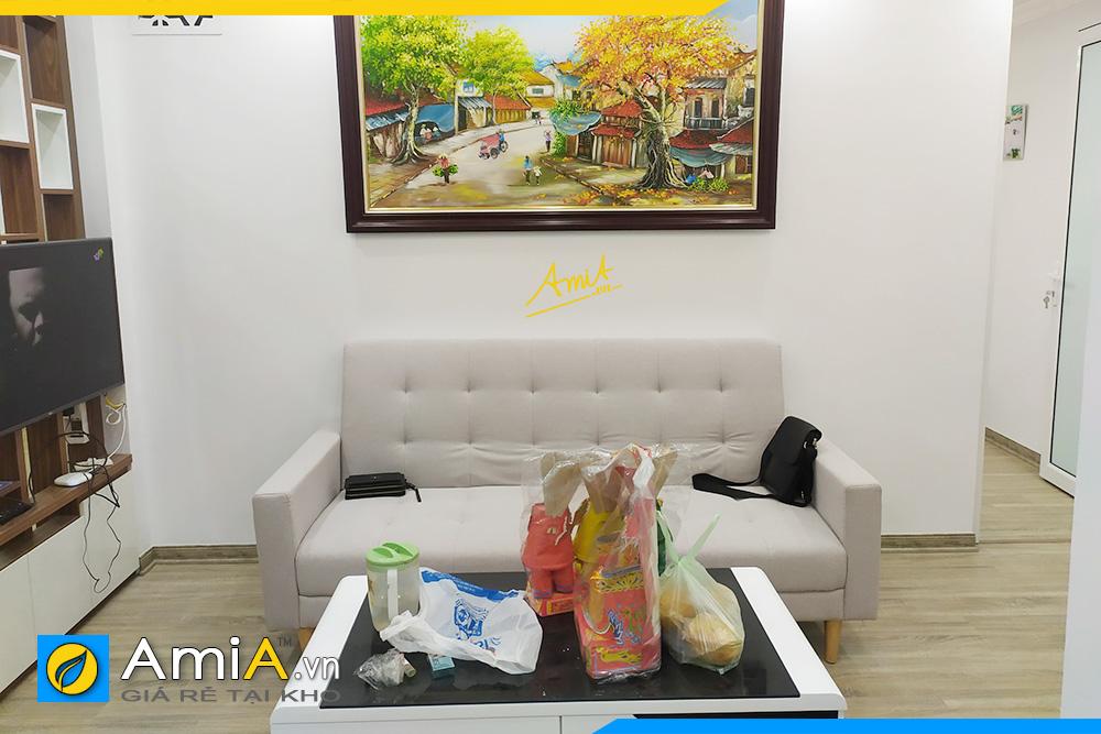 hình ảnh sofa văng nỉ màu trắng cho chung cư