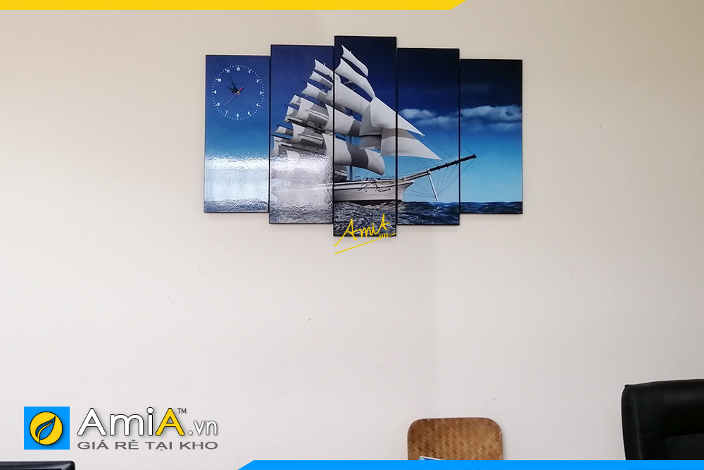 Hình ảnh Tranh đồng hồ trang trí văn phòng làm việc đẹp tiện lợi mã AmiA 330