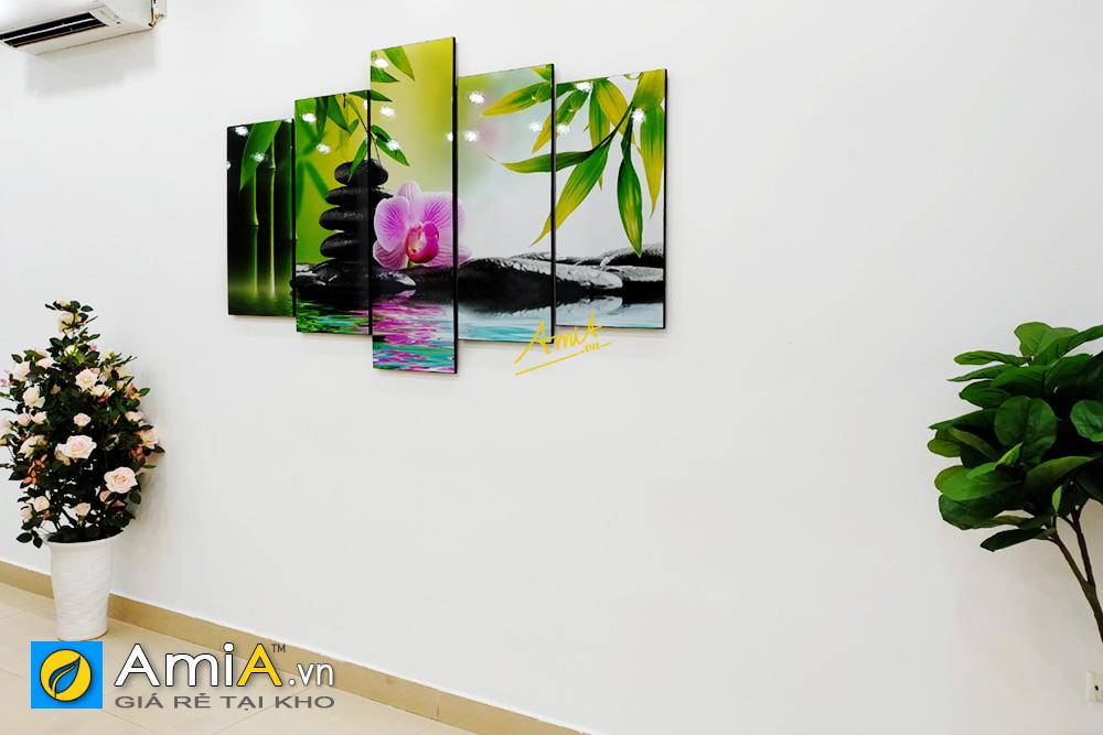 Hình ảnh Tranh spa hoa lan đá trúc đẹp hiện đại in ép gỗ ghép 5 tấm mã AmiA 942