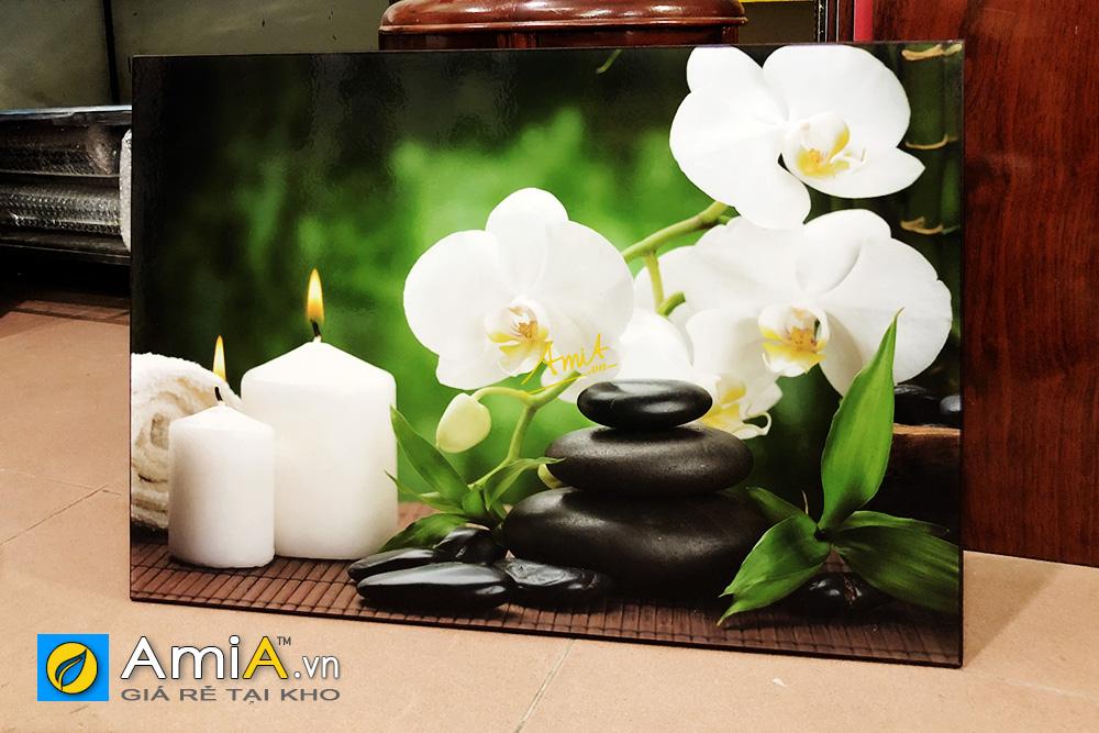 Hình ảnh Tranh spa hoa lan nến đá màu trắng đẹp tinh khôi mã AmiA 1118A