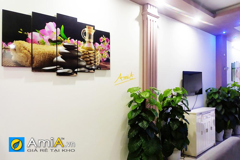 Hình ảnh Tranh spa hoa nến trang trí spa đẹp hiện đại treo tường spa