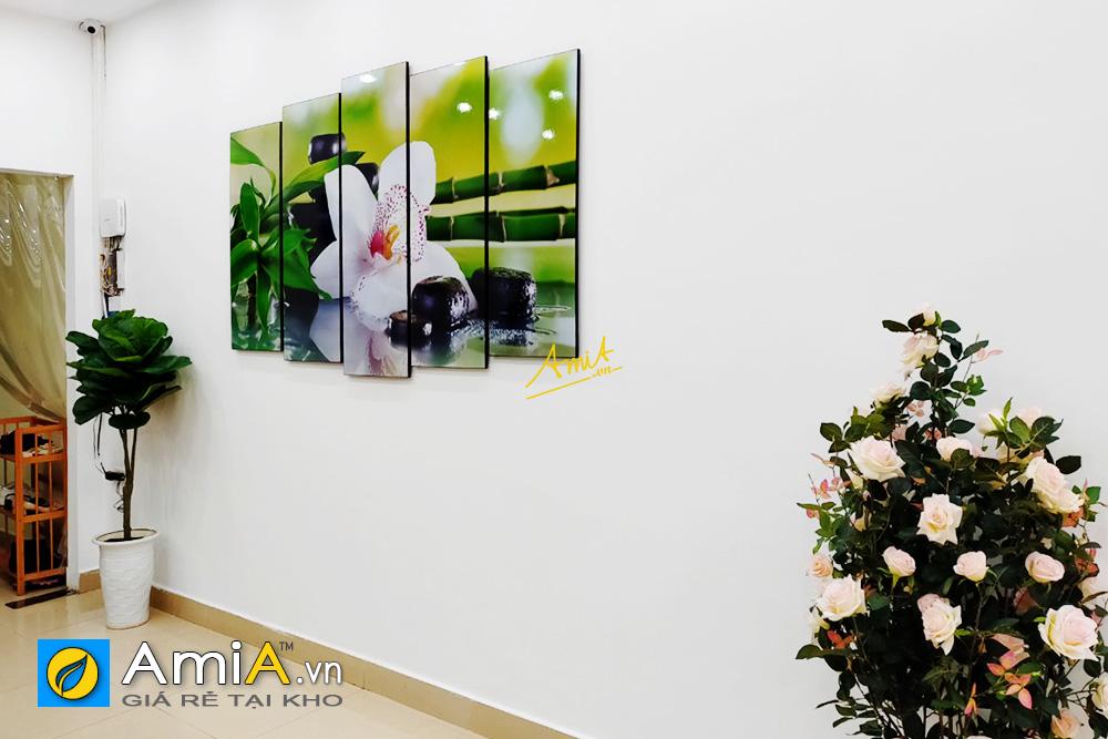 Hình ảnh Tranh trang trí spa hoa lan đá trúc đẹp treo tường hiện đại mã AmiA 951