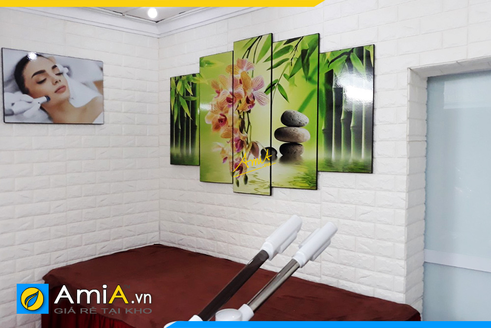 Hình ảnh Tranh treo tường spa chủ đề hoa lan đá trúc và hình ảnh cô gái
