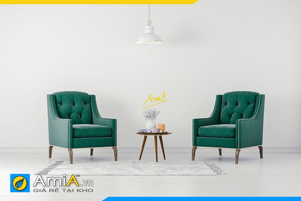 2 ghe sofa don mau xanh phong cach co dien