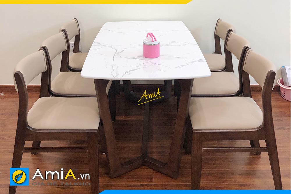 Hình ảnh Bàn ăn cơm gia đình 6 ghế gỗ sồi ghế bọc da AmiA BA 045a