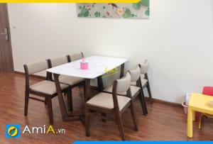 Hình ảnh Bộ bàn ghế ăn 6 ghế gỗ sồi đẹp cho nhà chung cư AmiA BA 045a