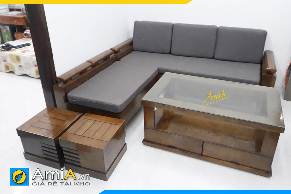 Sofa gỗ Sồi phòng khách giá rẻ