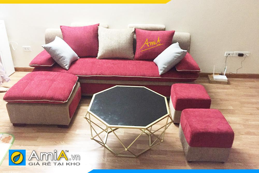 Sofa góc màu đỏ nổi bật
