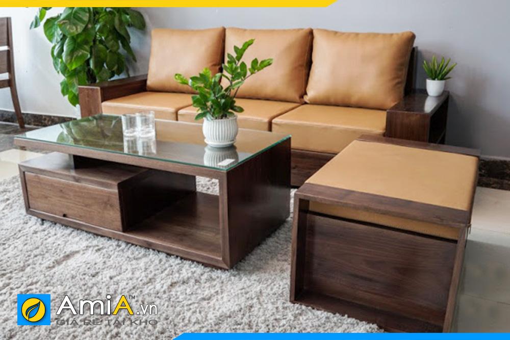 sofa gỗ Sồi màu Óc chó