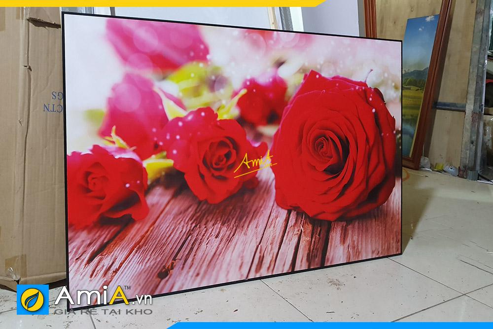 Hình ảnh Tranh hoa hồng treo tường quán ăn nhà hàng đẹp tại xưởng sản xuất