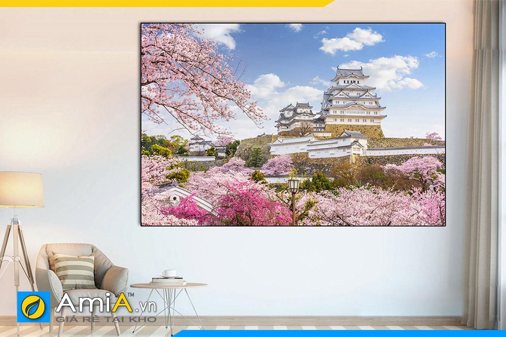 Hình ảnh Tranh lâu đài Himeji trang trí nhà hàng quán ăn sang trọng Nhật Bản