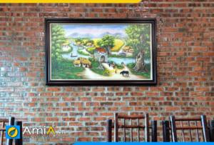 Hình ảnh Tranh phong cảnh làng quê Việt Nam vẽ sơn dầu treo nhà hàng mã TSD 378
