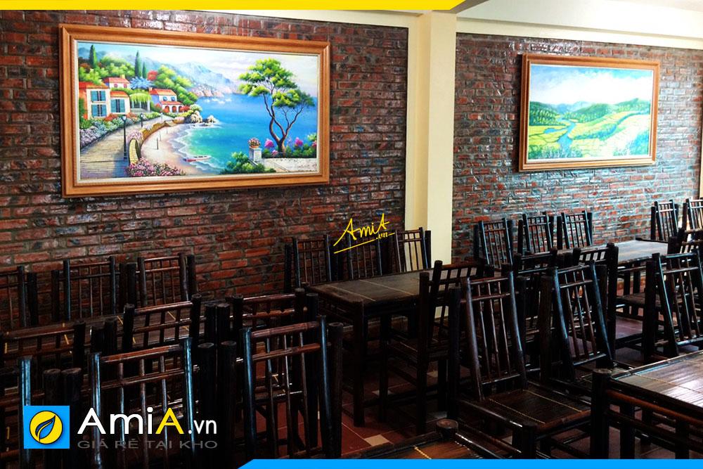 Hình ảnh Tranh phong cảnh vẽ sơn dầu treo nhà hàng quán ăn uống truyền thống mã TSD 427