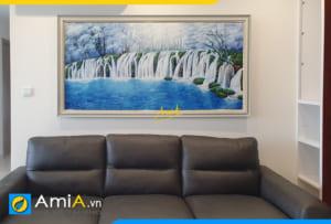 Hình ảnh Tranh phòng khách theo phong thủy thác nước tiền tài AmiA TSD TN01