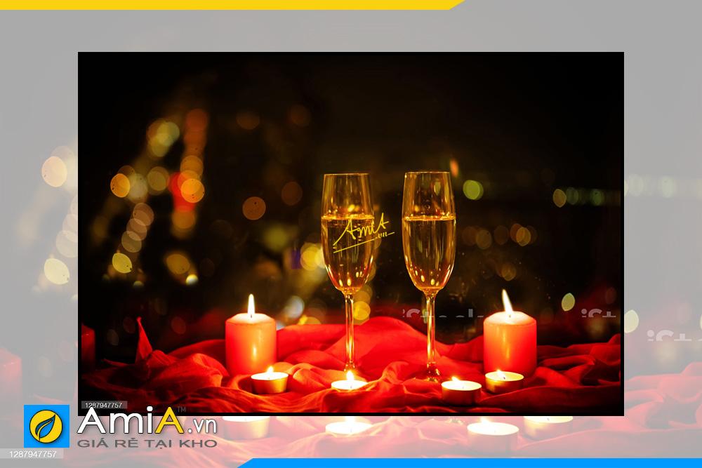 Hình ảnh Tranh rượu vang và nến treo tường nhà hàng lãng mạn