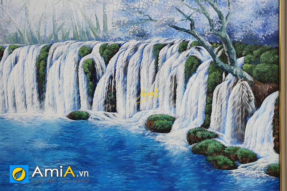 Hình anh Tranh sơn dầu thác nước đẹp ý nghĩa phong thủy nước chảy tiền tài AmiA TSD TN01