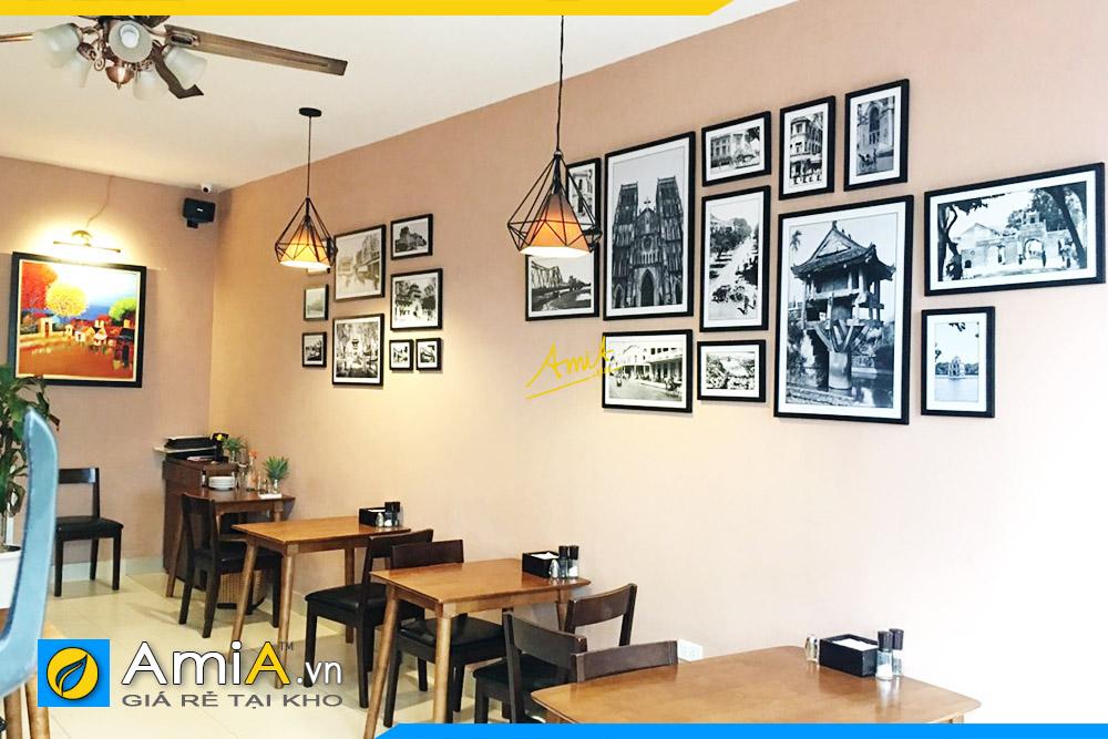 Hình ảnh Tranh treo trong nhà hàng tranh đen trắng ghép bộ nhiều tấm