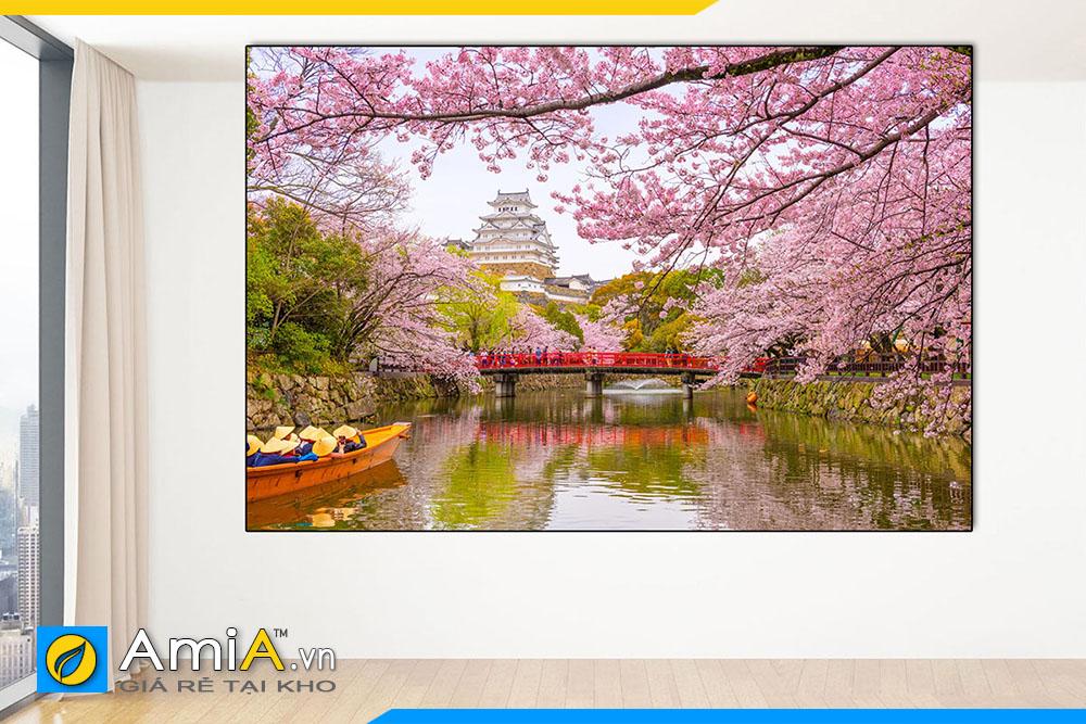Hình ảnh Tranh treo tường lâu đài Himeji cho nhà hàng quán ăn Nhật Bản