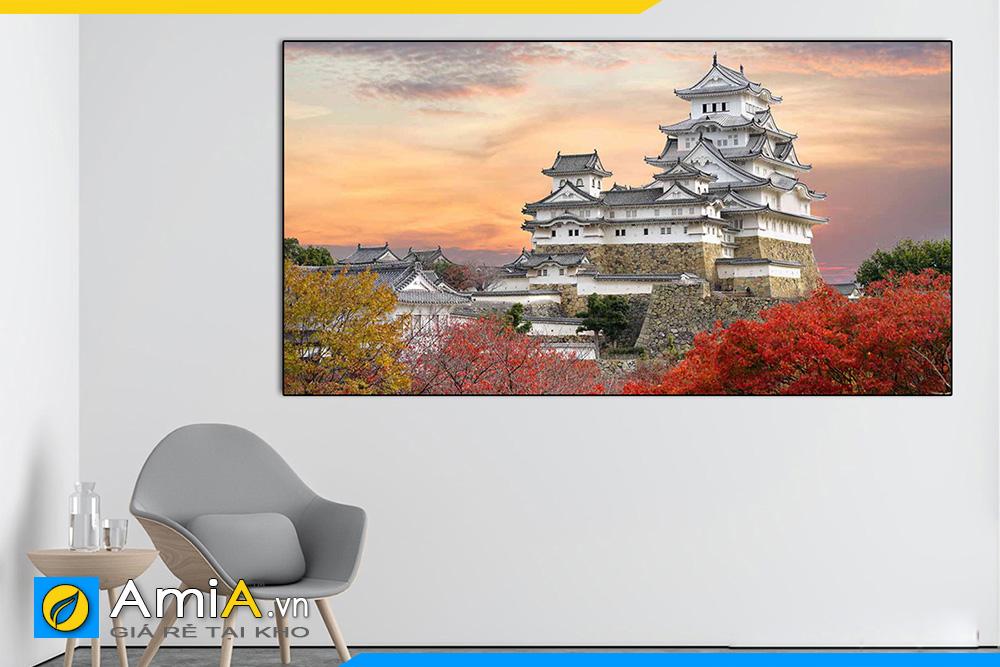 Hình ảnh Tranh treo tường lâu đài Himeji Nhật Bản đẹp cho nhà hàng quán ăn