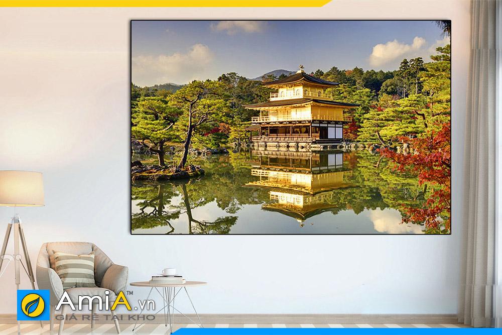 Hình ảnh Tranh treo tường Nhật Bản đền Kinkaku treo nhà hàng quán ăn