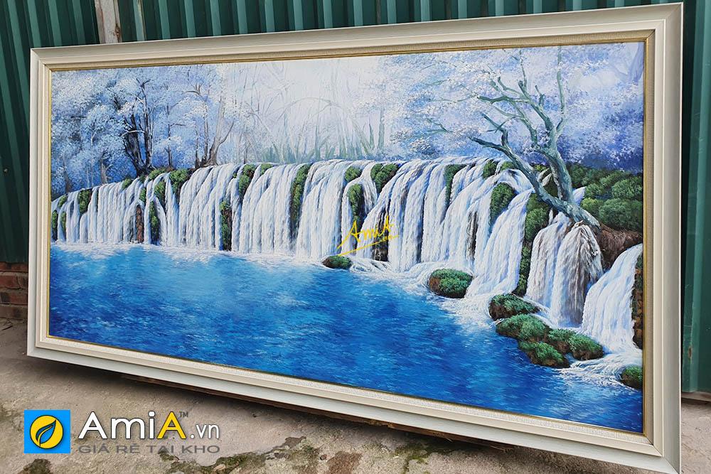 Hình ảnh Tranh treo tường phòng khách thác nước vẽ sơn dầu AmiA TSD TN01