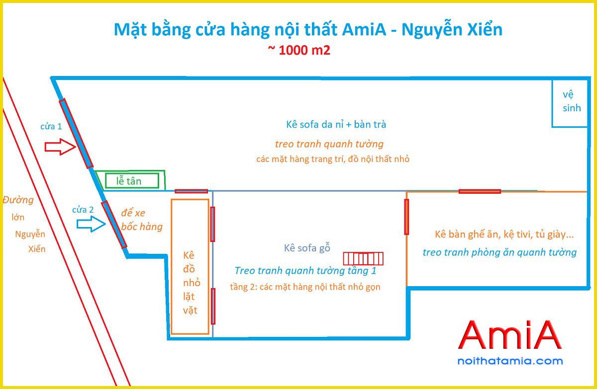 Diện tích kho trưng bày sofa của AmiA