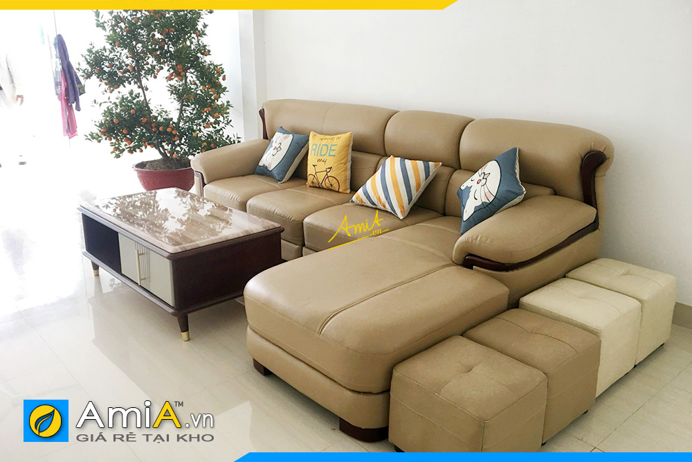 sofa góc da tay sơn gỗ AmiA338