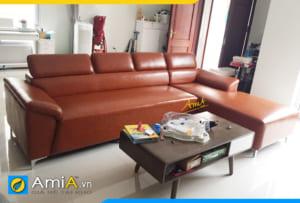 sofa góc da đơn giản hiện đại AmiA304