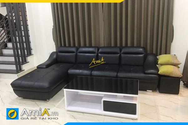 sofa góc da hiện đại AmiA342