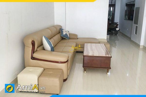 sofa góc da tay sơn gỗ