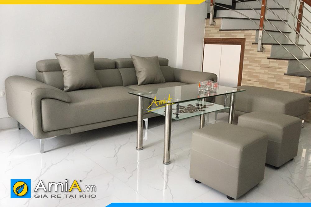 sofa góc da đẹp hiện đại