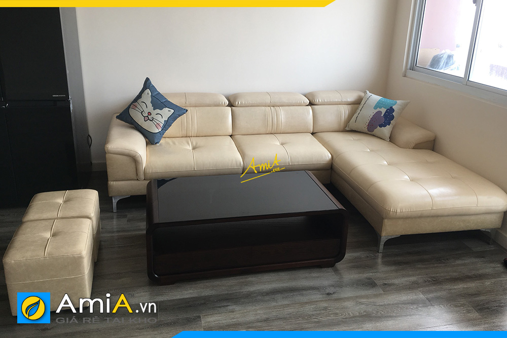 Sofa góc da đẹp hiện đại AmiA334